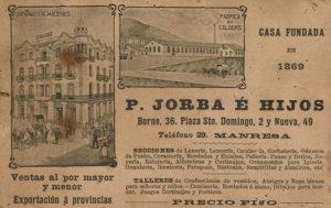 Anunci de la Casa Jorba de finals del segle XIX